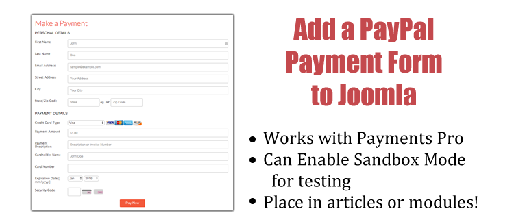 add paypal payment pro to joomla