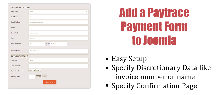 add paytrace payment to joomla